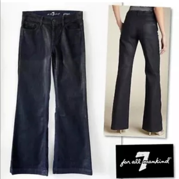 7 For All Mankind Denim - 7 For All Mankind Ginger Dark Waxed Flare Jeans